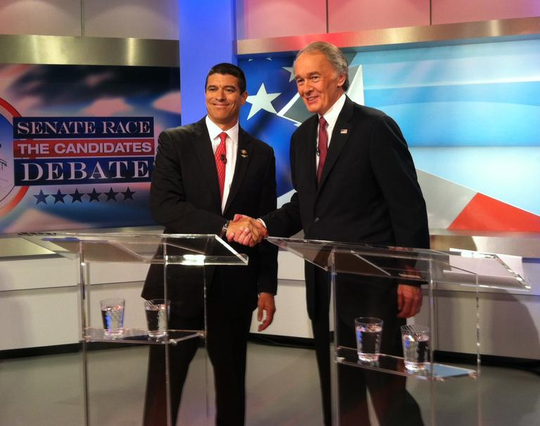 Republican Gabriel Gomez and Democrat Ed Markey shook hands before their first debate in the race for U.S. Senate. (Shoshana Salzberg for WBUR)