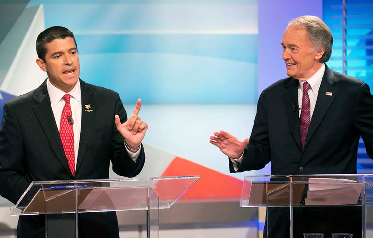 Republican Gabriel Gomez, left, and Democrat Edward Markey during a U.S. Senate candidates debate (Yoon S. Byun/The Boston Globe/AP, Pool)