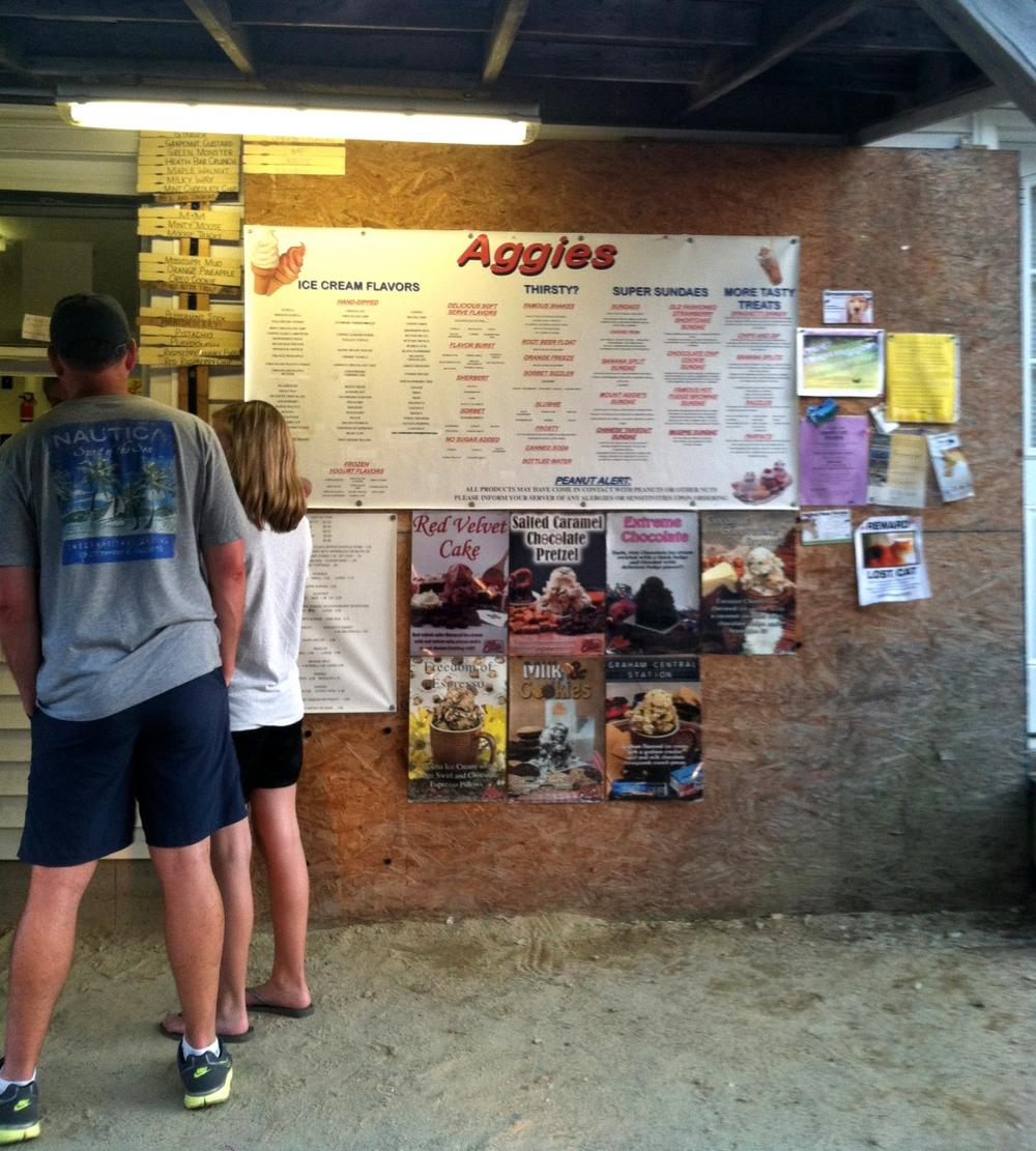 Customers wait in line at Aggie's in South Berwick, Maine. (Kathy Gunst/Here & Now)