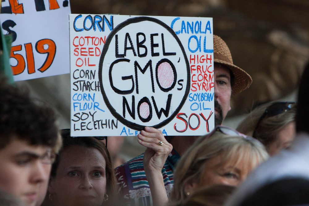 Connecticut was the first state in the country to pass legislation requiring food containing GMOs be labeled as such. Pictured here last year, residents rally in support of the law. (CT Senate Democrats/Flickr)