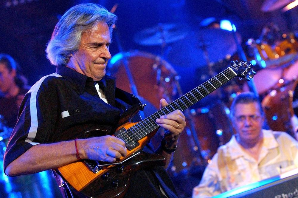 British guitarist John McLaughlin, left, and and U.S. pianist Chick Corea, right, perform in Montreux, Switzerland, July 2004. (Laurent Gillieron/Keystone via AP)