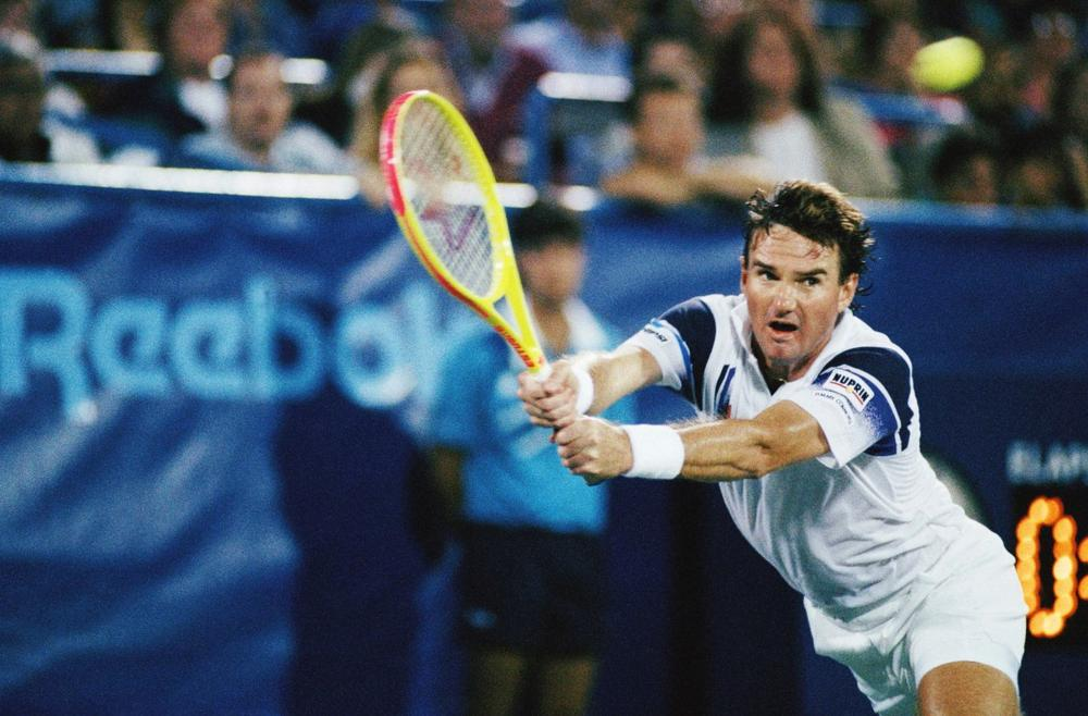Jimmy Connors returns a volley against opponent Ivan Lendl at the U.S. Open, Friday, Sept. 5, 1992, New York. (Alex Brandon/AP)