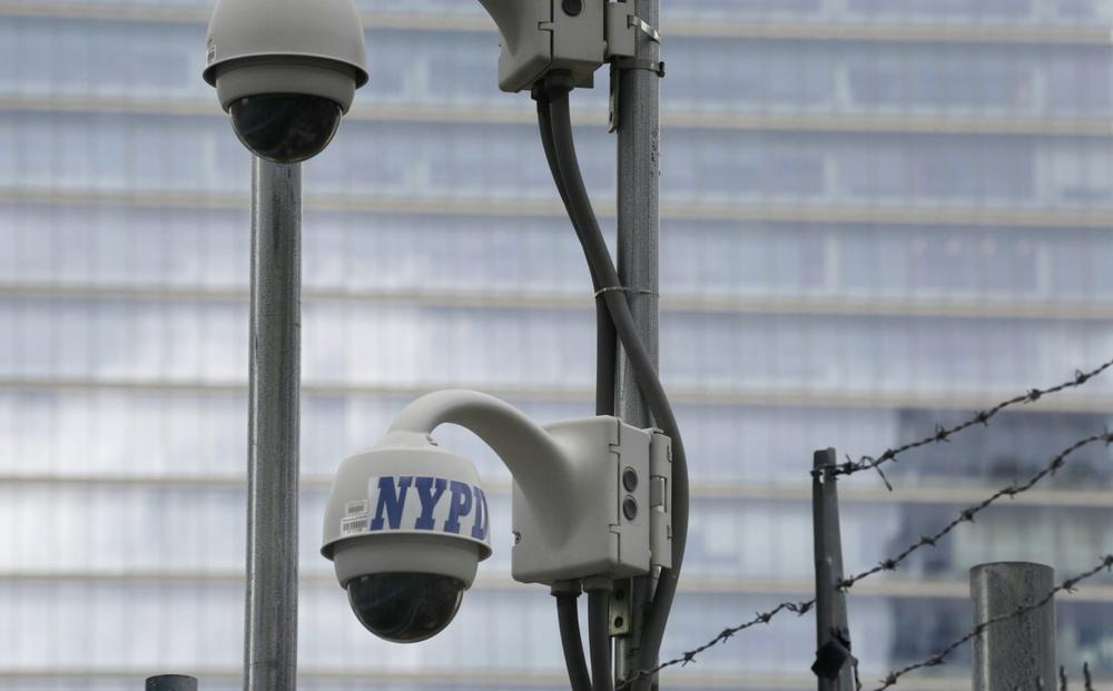 New York Police Department security cameras are pictured in February 2013. (Mark Lennihan/AP)