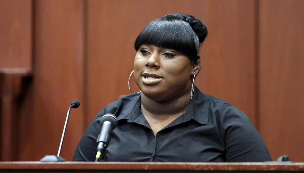 Rachel Jeantel, the witness that was on the phone with Trayvon Martin just before he died, gives her testimony during George Zimmerman's trial in Seminole circuit court in Sanford, Fla. Wednesday, June 26, 2013. (Jacob Langston/Orlando Sentinel via AP)