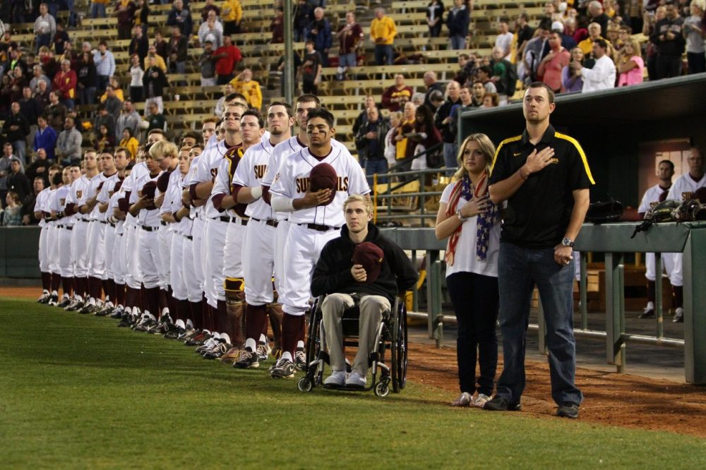 Cory Hahn (seated) at a game with his Arizona State teammates. Hahn was paralyzed in his third game for ASU in 2011. (Courtesy of Arizona State University)