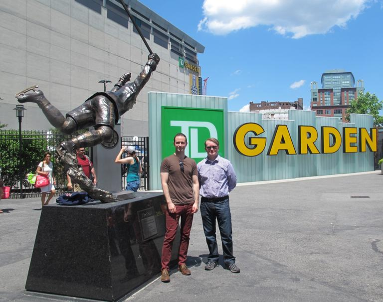 Filmmakers Tom Bean, left, and Luke Poling outside the TD Garden. (Andrea Shea/WBUR)