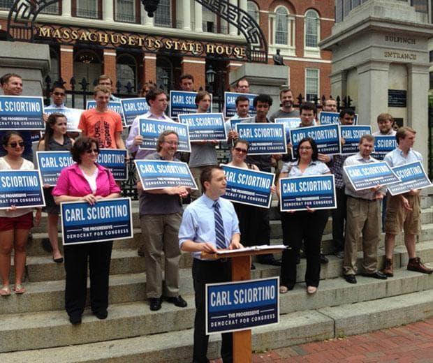 State Rep. Carl Sciortino announces his Congressional campaign (David Scharfenberg/WBUR)