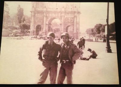 Susumu Ito, left, is pictured with his colleage George Takayanagi in front of the Arch of Constantine in Rome, Italy. (Vincent Yee photo of Susumu Ito photo)