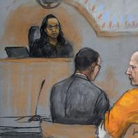 """A courtroom sketch depicts James """"Whitey"""" Bulger, center, during a pretrial conference in a federal courtroom in Boston, Monday, June 3, 2013. Bulger is flanked by his attorneys. (Jane Flavell Collins/AP)"""