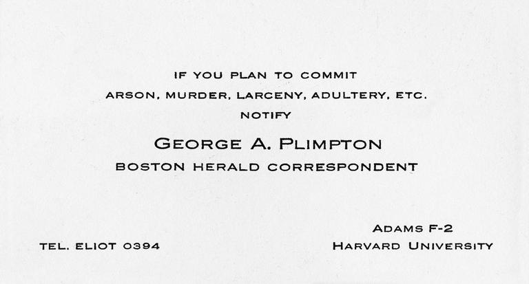 One of Plimpton's fake business cards. (Plimpton Estate, courtesy of Laemmle/Zeller Films)