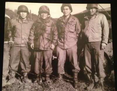 Susumu Ito is second from the right in this photo taken in France during WWII of four Japanese American soldiers who became officers in the 44nd. The other three veterans are now deceased. (Vincent Yee photo of Susumu Ito photo)