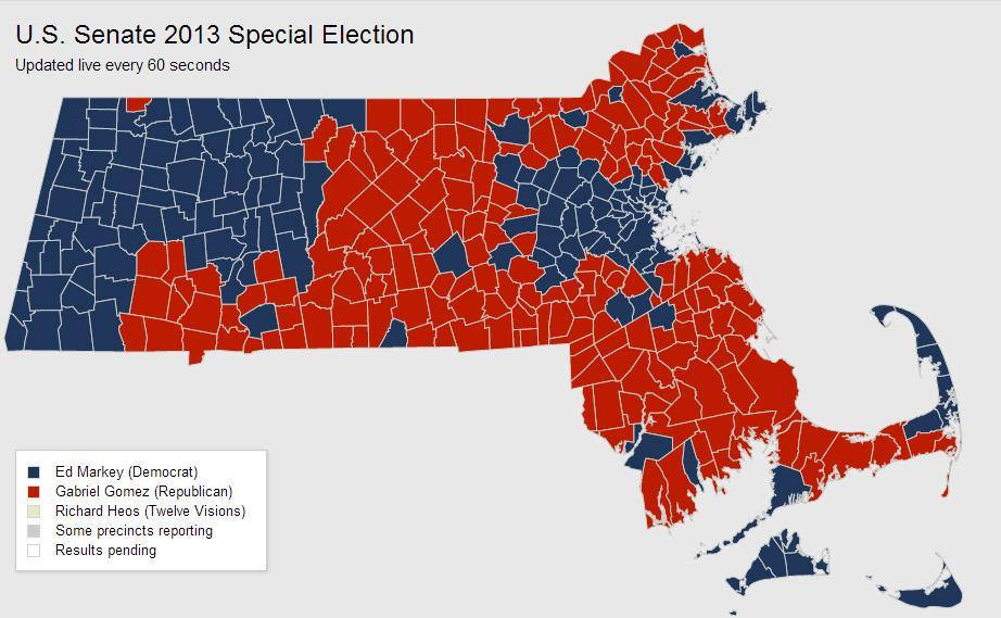 Map Town By Town Special Us Senate Election Results Wbur News - Election-results-map-of-us