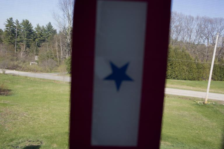 A Blue Star Mothers flag hangs in the window of Nelson's home. (M. Scott Brauer/Public Insight Network)