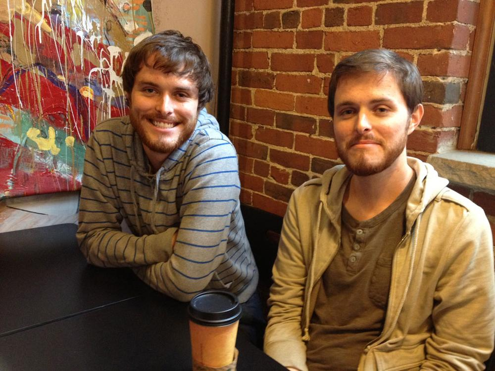 """Haverhill Experimental Film Festival"" co-founders (and twin brothers) Brendan (left) and Jeremy Smyth at Haverhill's Wicked Big Cafe. (Erin Trahan)"