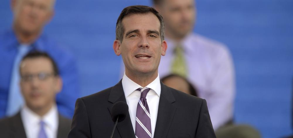 Los Angeles Mayor Eric Garcetti speaks in front of city hall after being sworn in, Sunday, June 30, 2013, in Los Angeles. (Mark J. Terrill/AP)