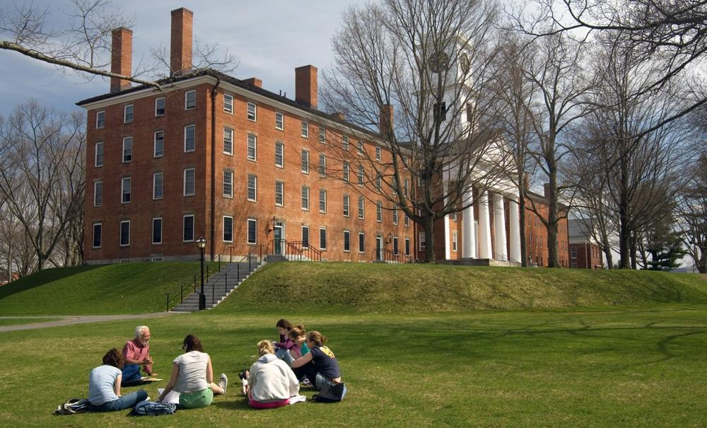 Students at Amherst College attend a class in front of College Row. (Samuel Masinter/Amherst College)