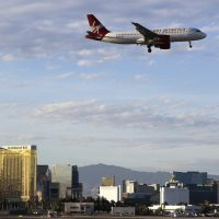 A Virgin America flight prepares to land at McCarran International Airport, March 2012, in Las Vegas. (Julie Jacobson/AP)