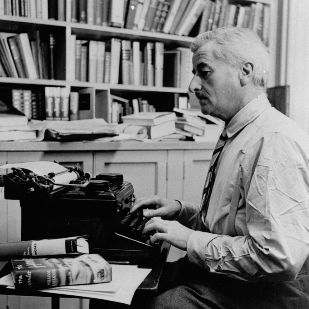 Faulkner at typewriter, Aug 12, 1954 - AP Photo, ShelfLife