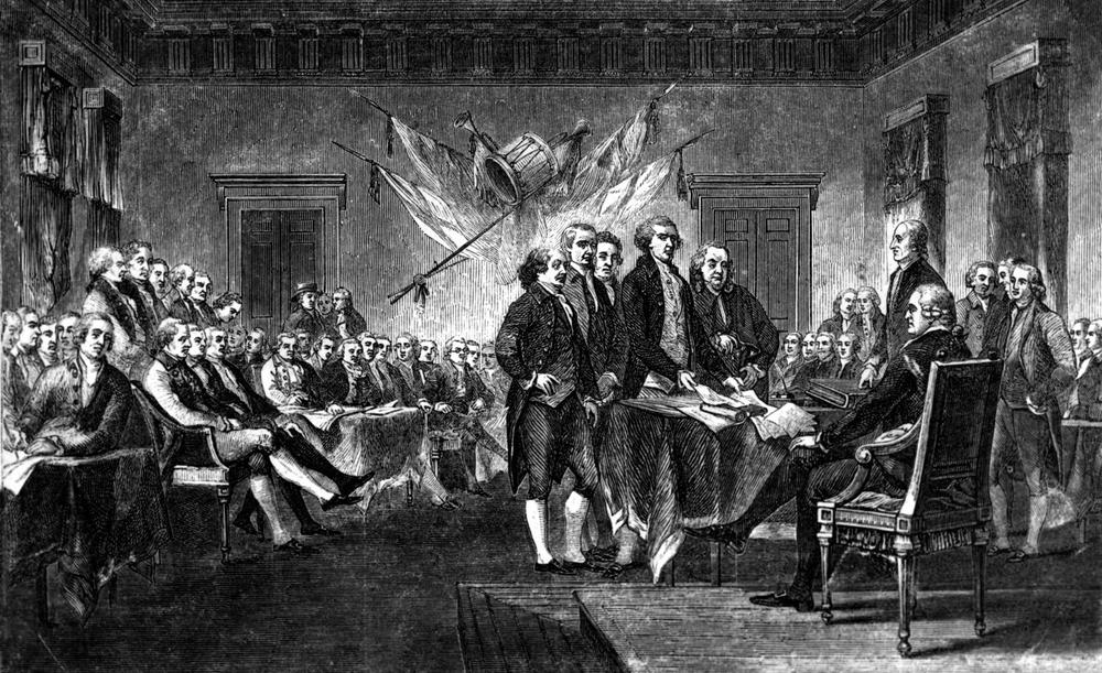 This undated engraving shows the scene on July 4, 1776, when the Declaration of Independence was approved by the Continental Congress in Philadelphia, Pa. (AP)