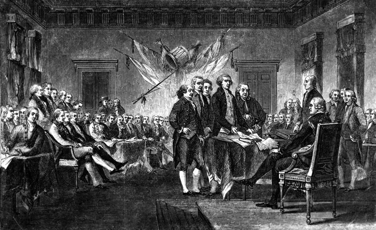 This undated engraving shows the scene on July 4, 1776, when the  Declaration of