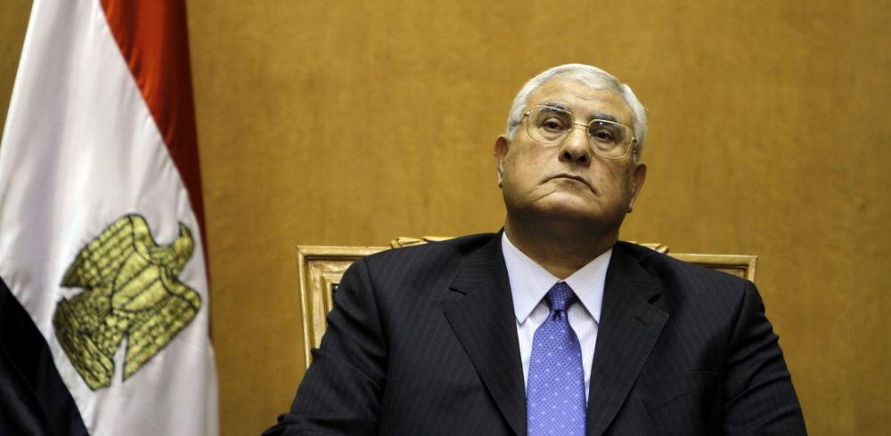 Egypt's chief justice Adly Mansour prepares to swear in as the nation's interim president Thursday, July 4, 2013. (Amr Nabil/AP)