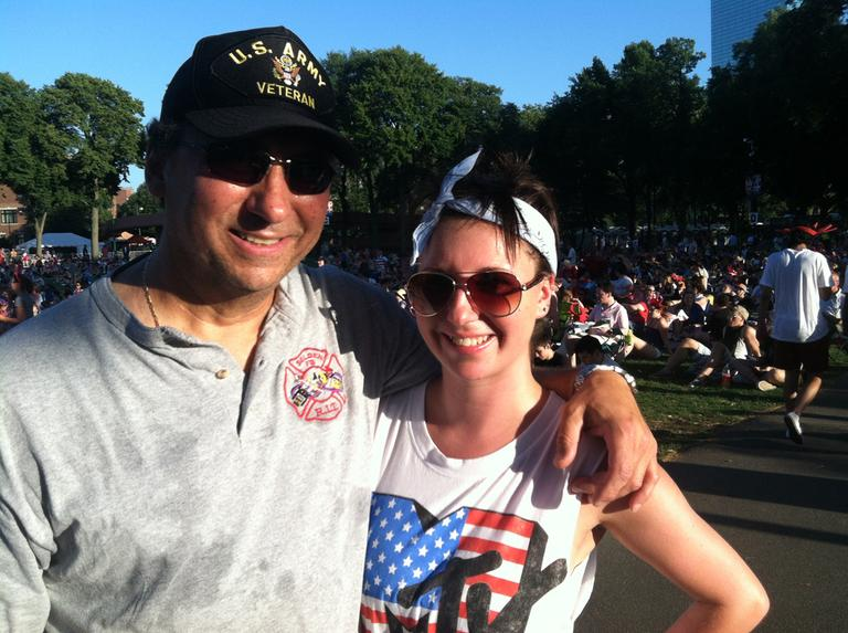 Bill Curcie, a retired fireman from Long Island, New York, came with his daughter Kristen. (Andrea Shea/WBUR)