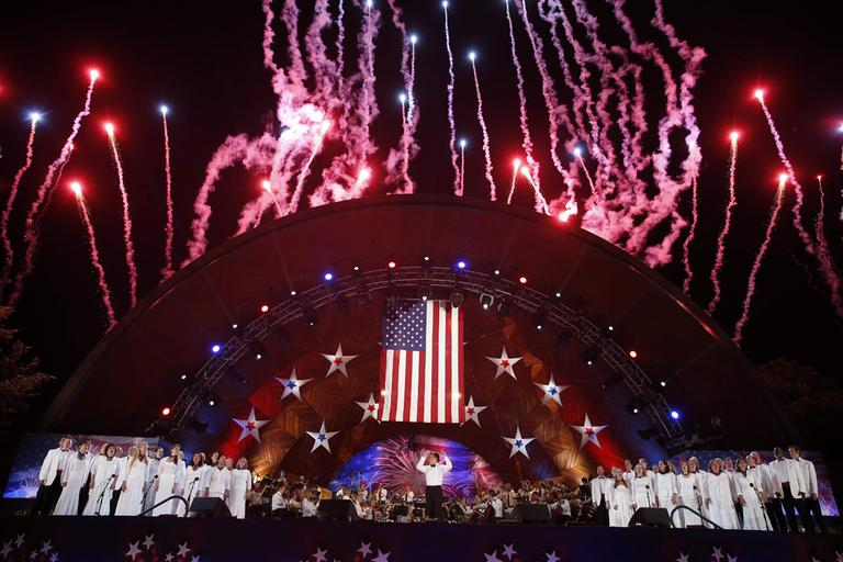 Fireworks burst over the Hatch Shell during the finale of the Boston Pops Fourth of July Concert in Boston, Thursday, July 4, 2013. (Michael Dwyer/AP)