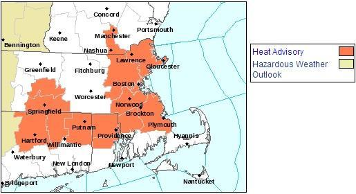 A heat advisory is in effect for the areas highlighted in orange, effective until 7 p.m. on Saturday. (National Weather Service)