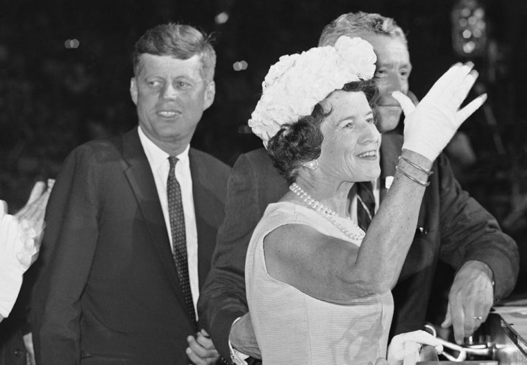 Rose Kennedy waves to delegates at the Democratic National Convention in 1960 after she was introduced with her son, Sen. John F. Kennedy, the party's presidential nominee. (AP)