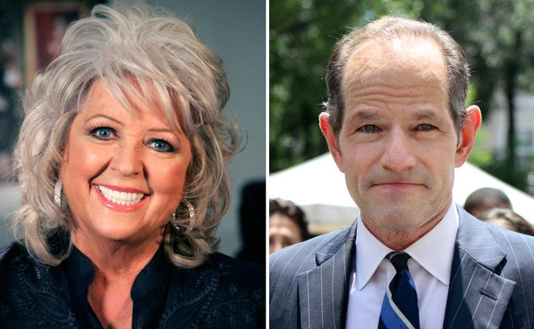 LEFT: Paula Deen in New York in 2010 (Jeff Christensen/AP File). RIGHT: Eliot Spitzer tries to collect signatures for his run for New York City Comptroller in New York, July 8, 2013. (Bethan McKernan/AP)