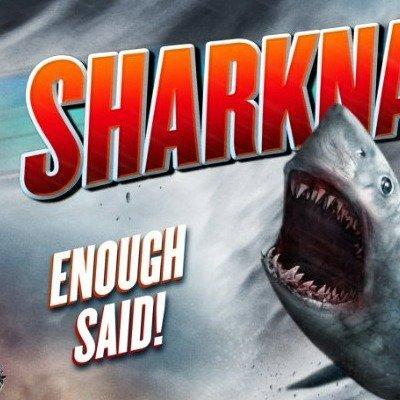"Detail of a promotional poster for ""Sharknado."" (Sharknado/SyFy)"