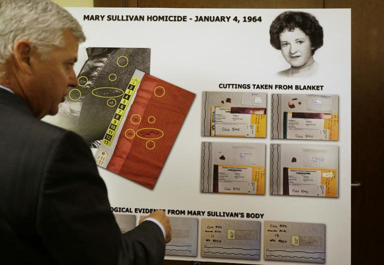 Suffolk County DA Daniel Conley discussed an evidence chart following a news conference Thursday in which authorities said new evidence linked longtime Boston Strangler suspect Albert DeSalvo to the 1964 murder of Mary Sullivan. (Steven Senne/AP)