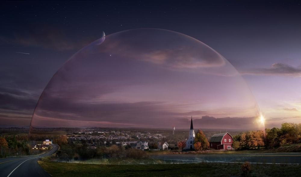 """This publicity image released by CBS shows a general view from the series """"Under the Dome,"""" about a small town that is suddenly and inexplicably sealed off from the rest of the world by a massive transparent dome. (CBS Entertainment)"""