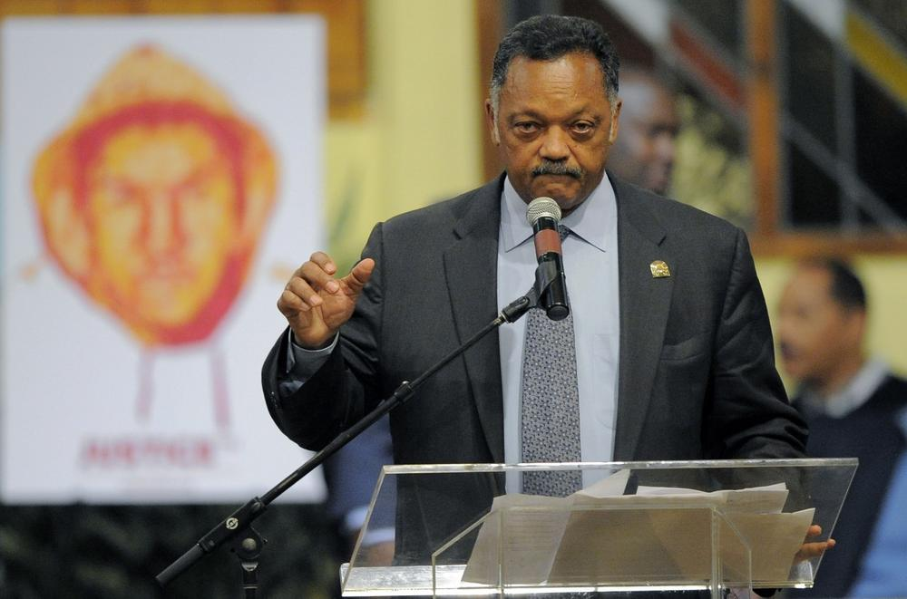 Rev. Jesse Jackson speaks during a rally on behalf of the family of shooting victim Trayvon Martin, Thursday, April 26, 2012, in Los Angeles. (Mark J. Terrill/AP)