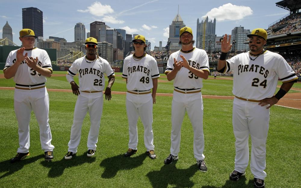 Pittsburgh Pirates All-Stars pose for a photo before a baseball game at PNC Park against the New York Mets in Pittsburgh Sunday, July 14, 2013. From left they are; relief pitcher Mark Melancon (35), center fielder Andrew McCutchen (22), starting pitcher Jeff Locke (49), relief pitcher Jason Grilli (39), and third baseman Pedro Alvarez (24). (Gene J. PuskarAP)