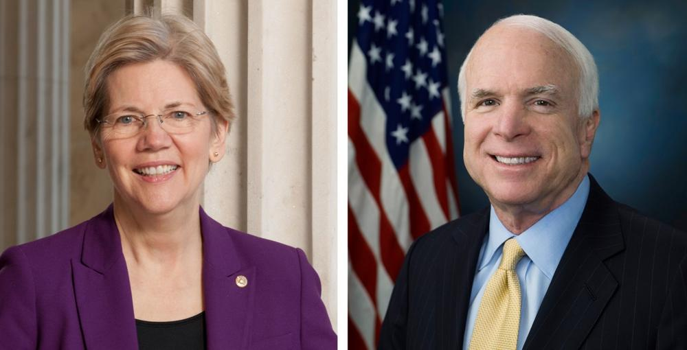 Democratic Senator Elizabeth Warren, left, and Republican Senator John McCain, right. (U.S. Senate)