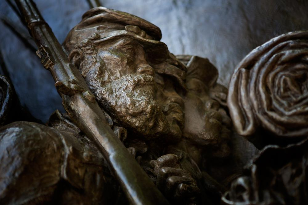 Detail of the Shaw memorial on Boston Common, which depicts the first African-American regiment in the Civil War. (Jesse Costa/WBUR)