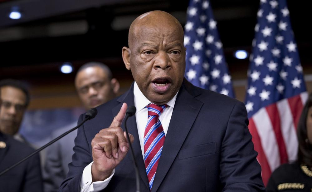 Rep. John Lewis, D-Ga., accompanied by fellow members of the Congressional Black Caucus express disappointment in the Supreme Court's decision on Shelby County v. Holder that invalidates Section 4 of the Voting Rights Act, Tuesday, June 25, 2013, on Capitol Hill in Washington. (J. Scott Applewhite/AP)
