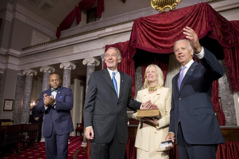 Sen. Edward Markey takes a ceremonial oath of office in Washington Tuesday following his official swearing in earlier in the Senate Chamber. (J. Scott Applewhite/AP)