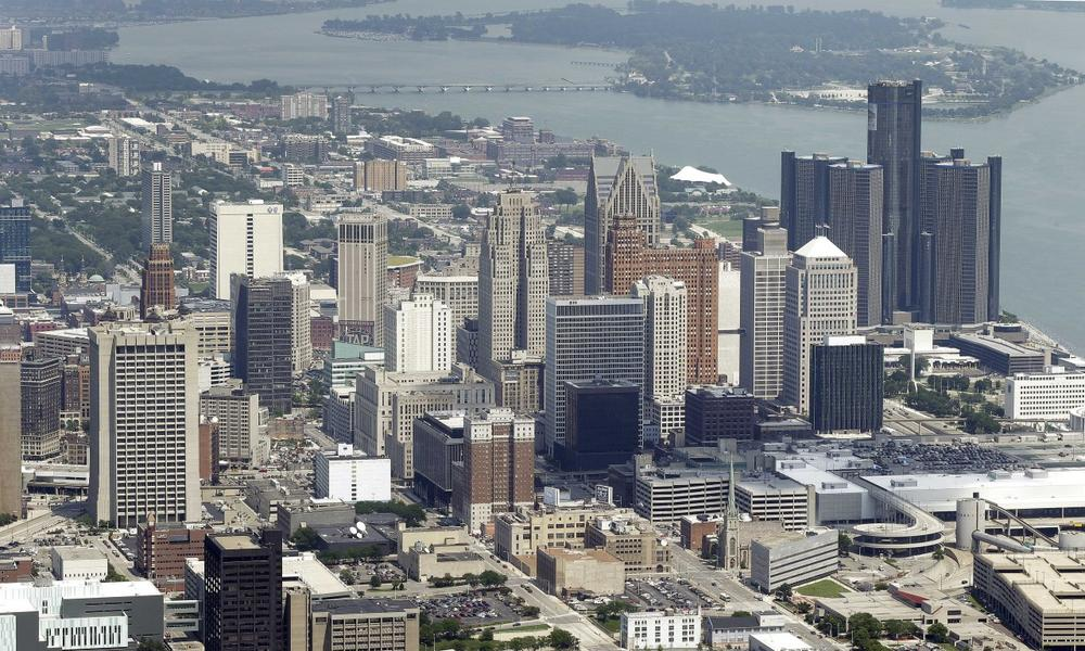 In this July 17, 2013, aerial photo is the city of Detroit. (Paul Sancya/AP)
