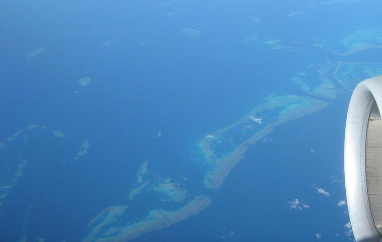The Great Barrier Reef is clearly visible from aircraft flying over it. (Wikimedia Commons)