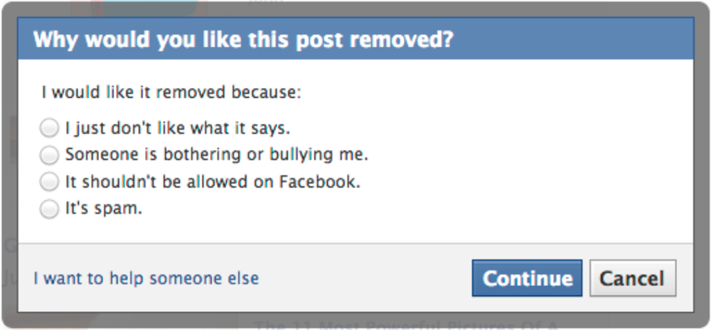 A screenshot of one of the new messages geared toward teenage Facebook users who might be experiencing bullying.