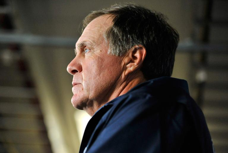 Patriots head coach Bill Belichick speaks to reporters Wednesday, breaking his silence four weeks after former tight end Aaron Hernandez was charged with murder. (Josh Reynolds/AP)