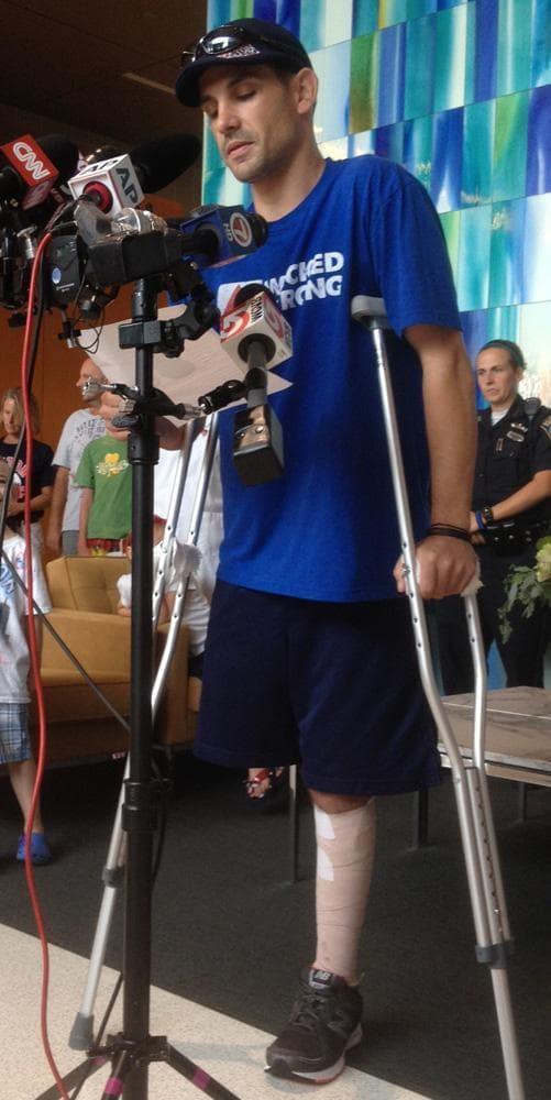 Marathon bombing victim Marc Fucarile speaks before departing Spaulding Rehab Hospital Wednesday. (Martha Bebinger/WBUR)