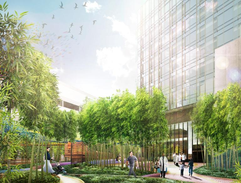 Artist's rendering of the proposed new clinical building and green space on the site of the current Prouty Garden at Boston Children's Hospital