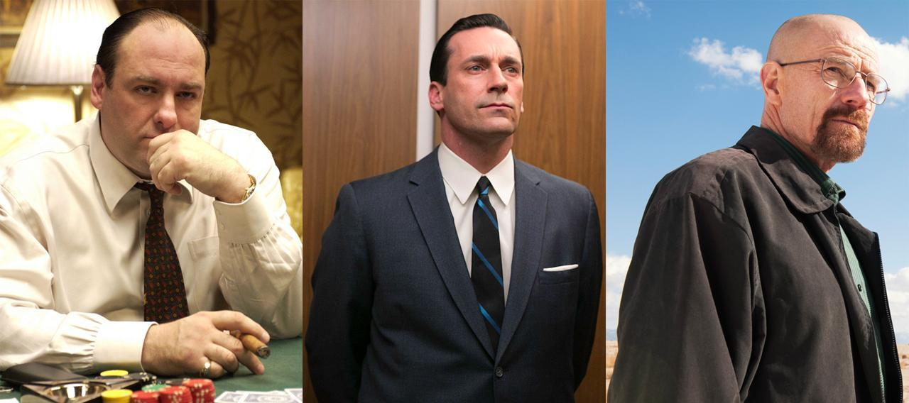 "From left to right: James Gandolfini as Tony Soprano in HBO's ""The Sopranos"" (Abbot Genser/HBO via AP), Jon Hamm as Don Draper in AMC's ""Mad Men"" (Jordin Althaus/AMC via AP), Bryan Cranston as Walter White in AMC's ""Breaking Bad"" (Frank Ockenfels/AMC via AP)."