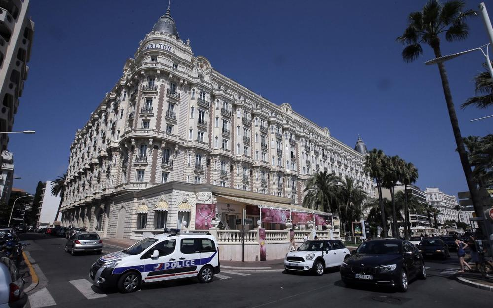 A view of the Carlton hotel, in Cannes, southern France, the scene of a daylight raid, Sunday, July 28, 2013. (Lionel Cironneau/AP)