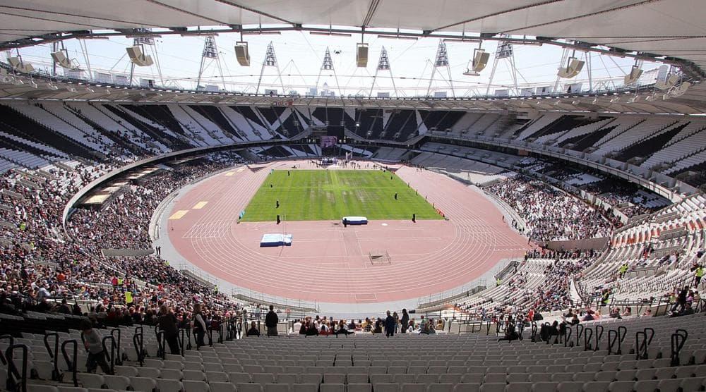 Inside the London Olympic Stadium in April 2012. (jeffowenphotos/Wikimedia Commons)