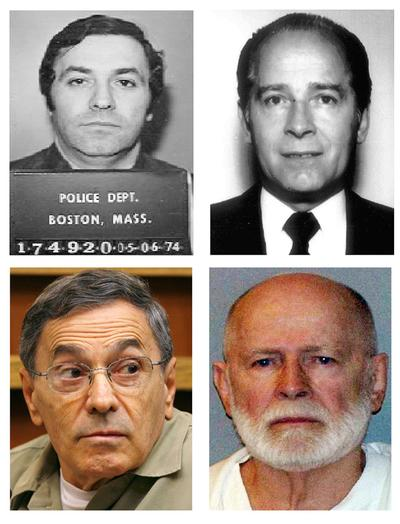 "Clockwise from top left: Stephen ""The Rifleman"" Flemmi, in 1974 from the Boston Police Department; James ""Whitey"" Bulger, in 1984 from the FBI; Bulger, in a June 23, 2011 booking photo provided by the U.S. Marshals Service; Flemmi, on Sept. 22, 2008, as he testified in a Miami court in the murder trial of former FBI agent John Connolly. (AP)"