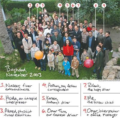 """A group photo of the Washington Post's Iraqi interpretors, taken in November 2003 (click to enlarge). (<a href=""""http://www.washingtonpost.com/opinions/at-great-risk-they-helped-the-post-cover-iraq-now-theyre-remaking-their-lives-in-america/2013/07/18/76867d10-e7e5-11e2-aa9f-c03a72e2d342_story.html"""" target=""""_blank"""">Bill O'Leary/Washington Post</a>)"""